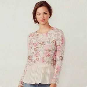 LC Lauren Conrad floral pleated mock-layer top